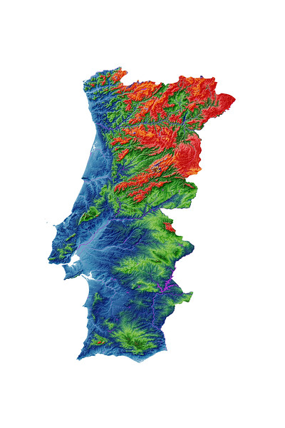 Elevation map of Portugal