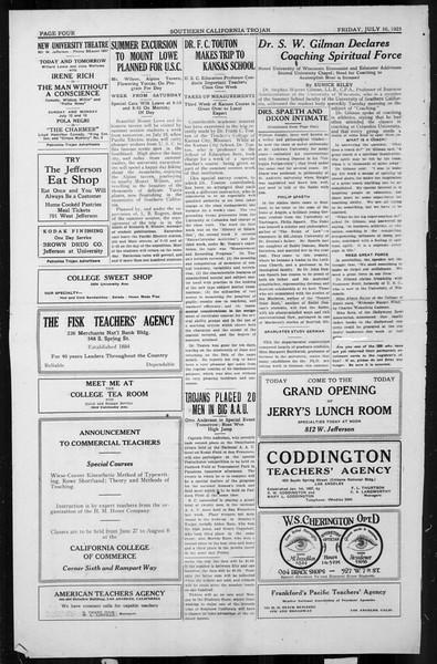 The Southern California Trojan, Vol. 4, No. 4, July 10, 1925