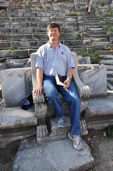 2010-10-31  719  Priene - Jay Seated in a 'Seat of Honor', at the Hellenistic Greek Theater