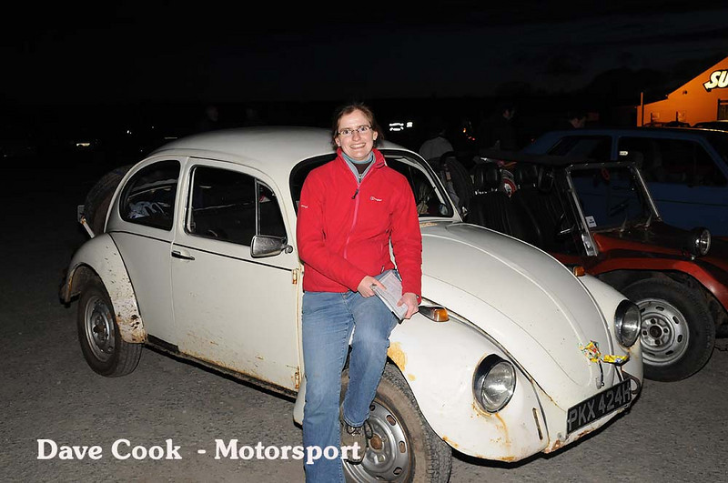 Nicola Butcher poses in front of her VW in it's last trial, before significantly failing an MOT