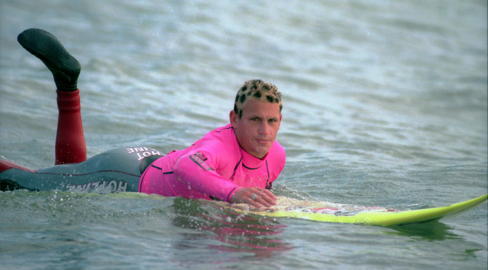 Description of . Darryl 'Flea' Virostko won the first Mavericdks contest in 1999 with bleached hair,dyed with black spots as a tribute to his friend and fellow surfer Skye Ksander's battle with cancer.  (Dan Coyro/Sentinel)