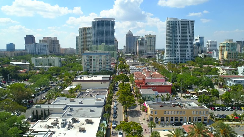 Aerial drone footage Downtown Fort Lauderdale Florida 4k 60p