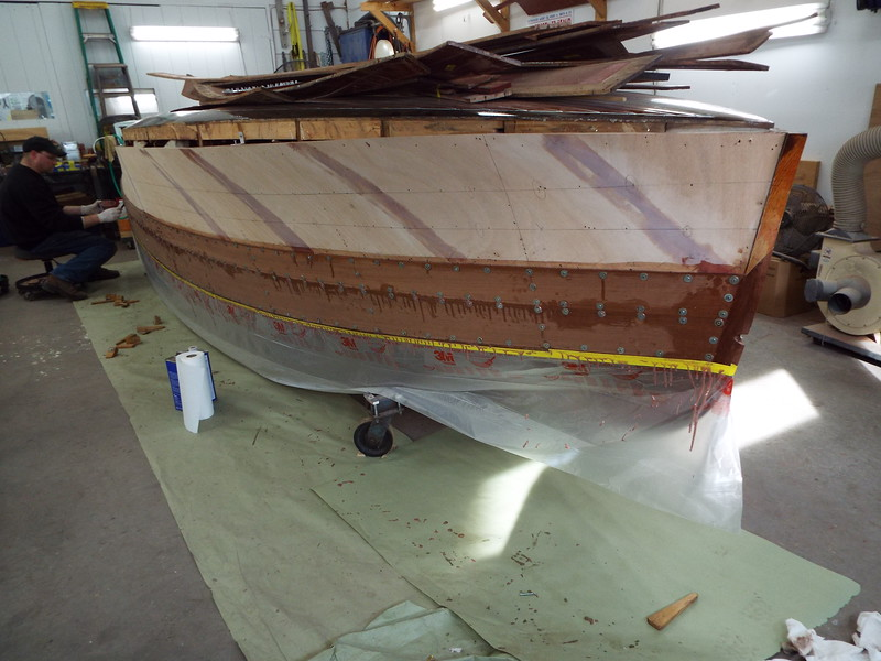 Front starboard view of the first two planks installed.