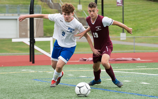 10/07/19 Wesley Bunnell | StaffrrBristol Eastern and Bristol Central played to a 1-1 tie in their match at Bristol Central High School on Monday afternoon. Bristol Eastern's Dominik Femiak (9) and Bristol Central's Beckett Hennessey (19).