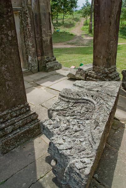 Fallen ornamental stone inside Preah Vihear Temple