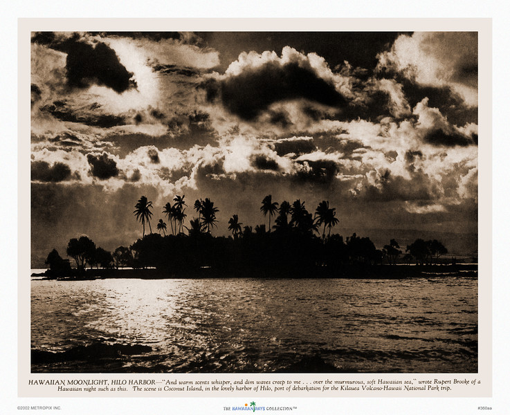 360: 'Hawaiian Moonlight, Hilo Harbor' Sepia-toned photograph, published in Paradise of the Pacific, ca. 1938.