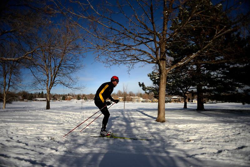 . 27 year old Matt Huntze of Boulder skiing in North Boulder Park Colorado, Wednesday, December 19,  2012.    Joe Amon, The Denver Post