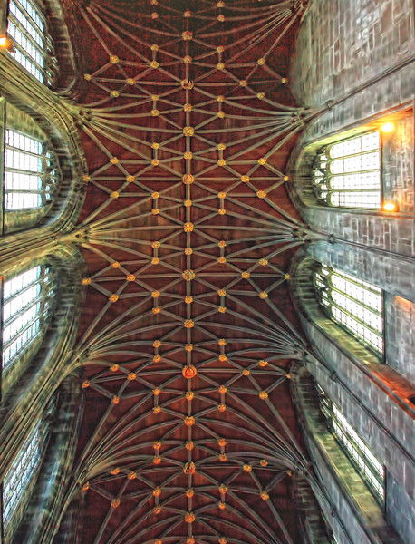 Chester Cathedral - the ceiling of the nave, built of plain wood in 1540 in order to allow services to be held.