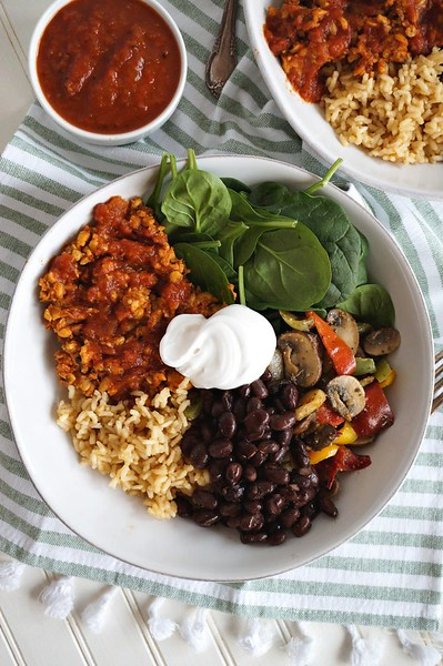 Vegan Mexican Recipes - Easy Taco Bowls with Tempeh