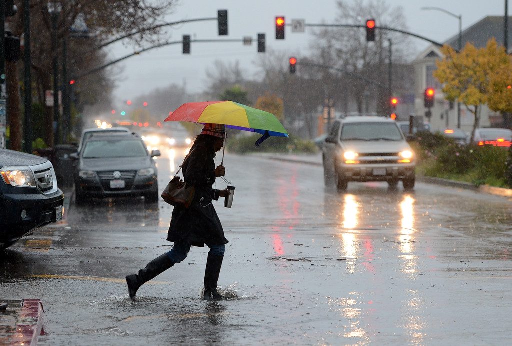 . Umbrella in one hand and coffee mug in the other, a woman crosses San Pablo Avenue in Berkeley, Calif., on Thursday, Dec. 11, 2014. (Kristopher Skinner/Bay Area News Group)