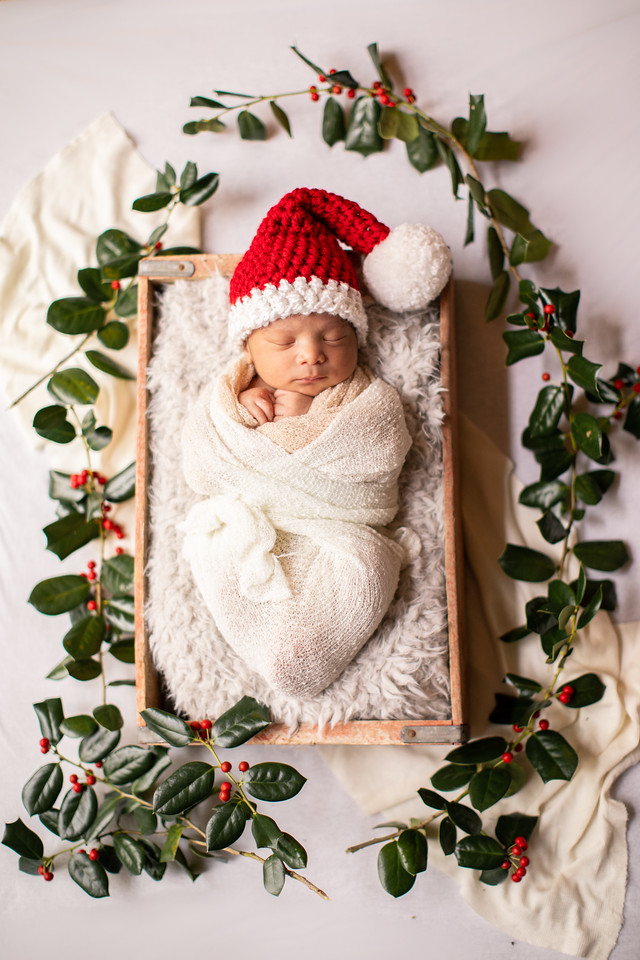 Christmas newborn photos with Santa hat.  Photo by Jalapeno Photography in the Washington, DC, area.