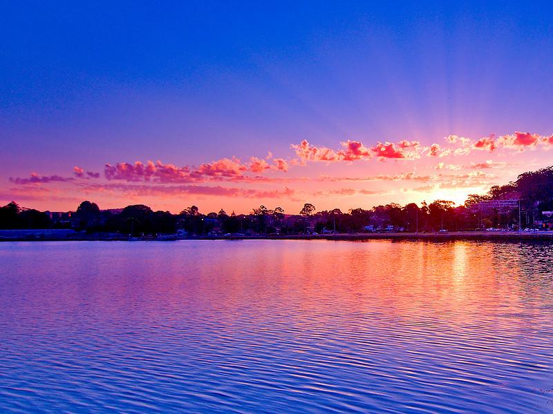 Pink cloudy Sunrise Seascape Australia