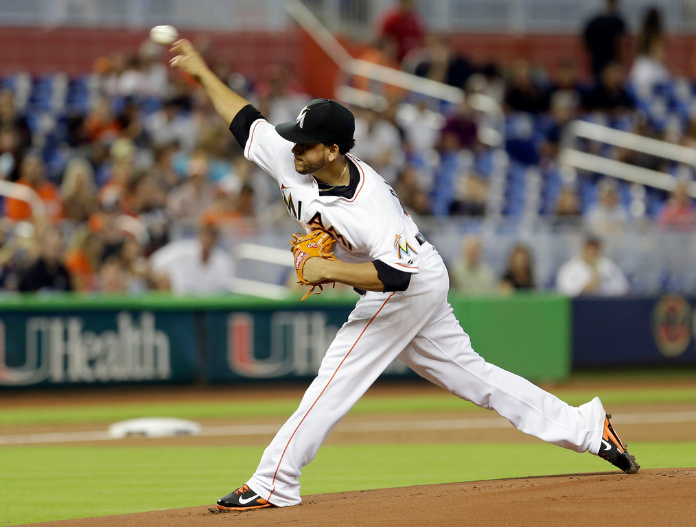 . Miami Marlins\' Henderson Alvarez pitches against the Detroit Tigers in the first inning of an interleague baseball game, Sunday, Sept. 29, 2013, in Miami. Alvarez threw a no-hitter in the Marlins 1-0 win. (AP Photo/Alan Diaz)