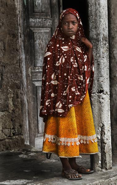 Portrait of a young Muslim girl.   Pangani, Tanzania, 2019