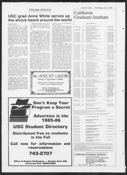 Summer Trojan, Vol. 99, No. 8, July 10, 1985