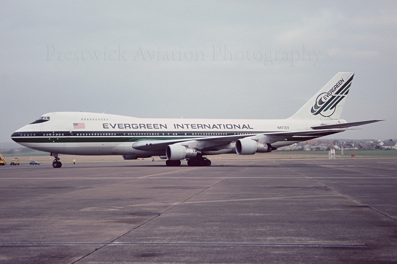 N471EV. Boeing 747-273C. Evergreen International. Prestwick. December 1991.