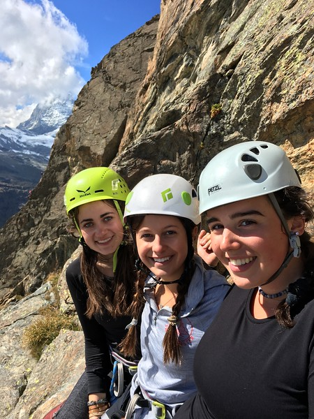 Lily, Bella, and Jane climbing on Riffelhorn