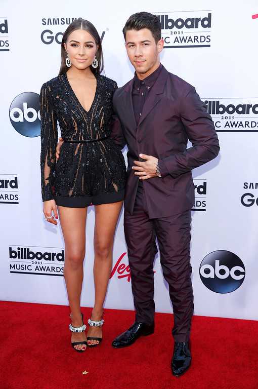 . Olivia Culpo, left, and Nick Jonas arrive at the Billboard Music Awards at the MGM Grand Garden Arena on Sunday, May 17, 2015, in Las Vegas. (Photo by Eric Jamison/Invision/AP)