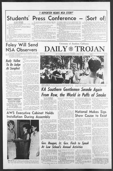 Daily Trojan, Vol. 58, No. 114, April 28, 1967