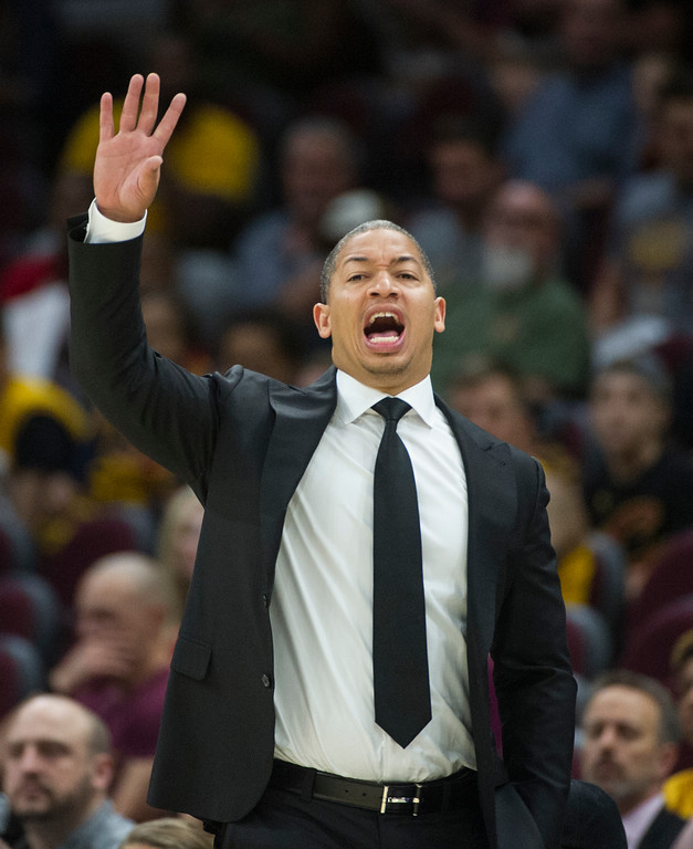 . Cleveland Cavaliers head coach Tyronn Lue directs his team during the first half of an NBA pre-season basketball game against the Atlanta Hawks in Cleveland, Wednesday, Oct. 4, 2017. The Hawks won 109-93. (AP Photo/Phil Long)