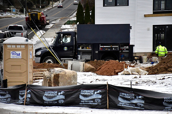 12/26/2019 Mike Orazzi | Staff The scene of water main break off South Street in Bristol on Thursday.