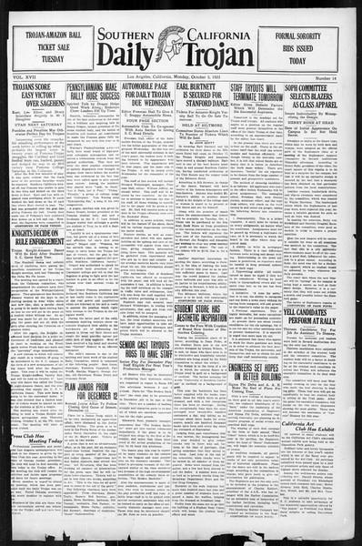Daily Trojan, Vol. 17, No. 14, October 05, 1925