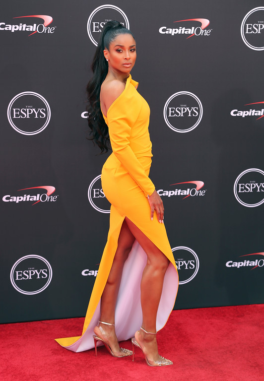 . Ciara arrives at the ESPY Awards at Microsoft Theater on Wednesday, July 18, 2018, in Los Angeles. (Photo by Willy Sanjuan/Invision/AP)