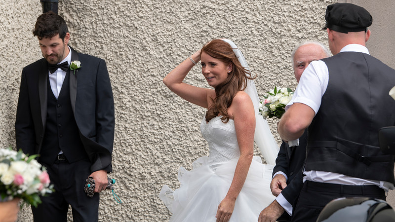Bride and Groom at Church of the Assumption, Achill Sound, Achill Island, County Mayo, Republic of Ireland