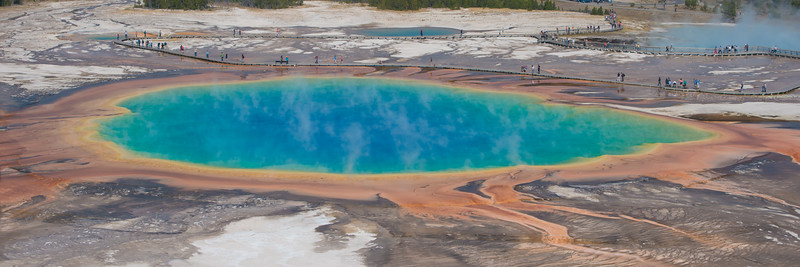 Grand Prismatic lake from up high.