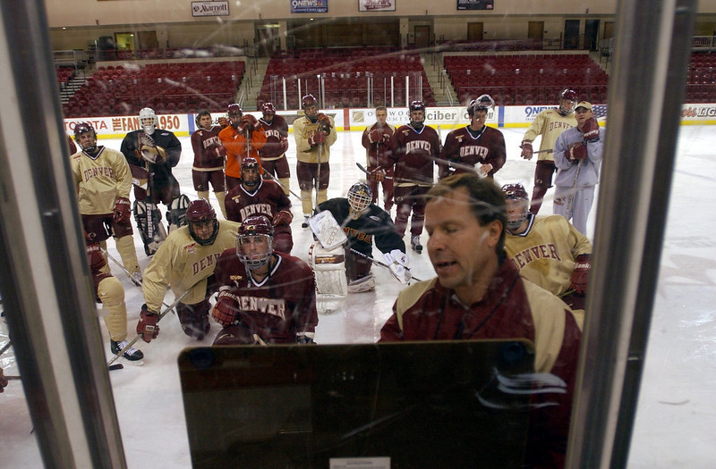 . University of Denver hockey coach George Gwozdecky has his squad back in the national spotlight. At 8-0, the Pioneers are tied for the best league start in school history.  (Photo by John Leyba/The Denver Post)