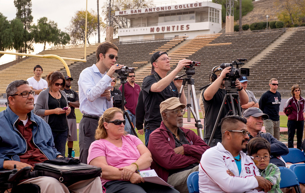 . Press conference announcing the renovation of Mt. SAC\'s Hilmer Lodge Stadium at the Walnut campus Dec. 2, 2013.  The renovation would qualify the stadium to apply for consideration as the track and field venue of the 2020 Olympics.    (Staff photo by Leo Jarzomb/San Gabriel Valley Tribune)