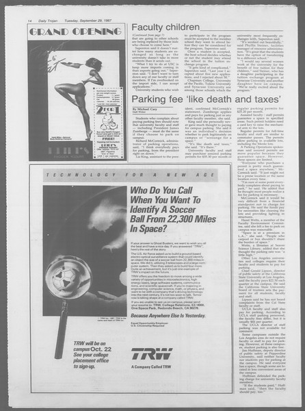 Daily Trojan, Vol. 105, No. 18, September 29, 1987