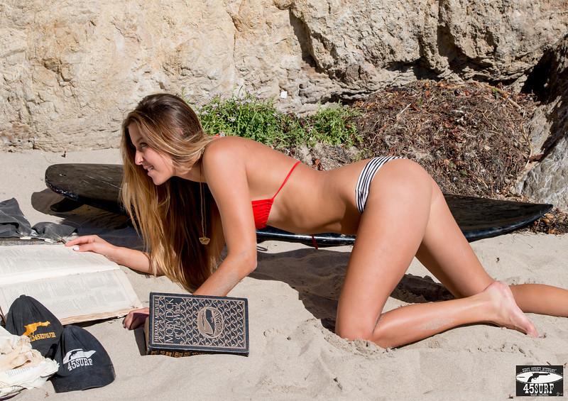 Nikon D800E Photos of Pretty Blonde Swimsuit Bikini Model Gold 45 Revolver Beach GoddessSharp 70-200mm VR2 F2.8 Nikkor Lens