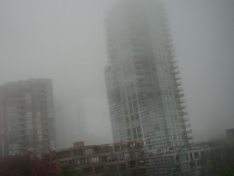 Oct. 19/13 - Foggy morning in Vancouver: view of lower Hornby Street from my hotel room