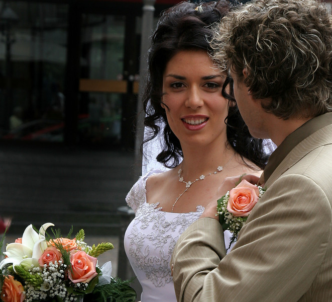 a random couple encountered in Frankfurt on the day of their wedding.
