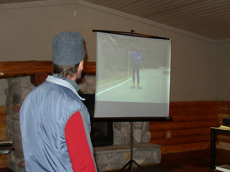 Local ski instructor, Matt Joppich, explained V1, V2 and V2 alternate indoors and showed some video.