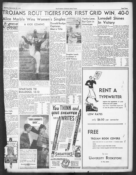 Daily Trojan, Vol. 29, No. 7, September 27, 1937