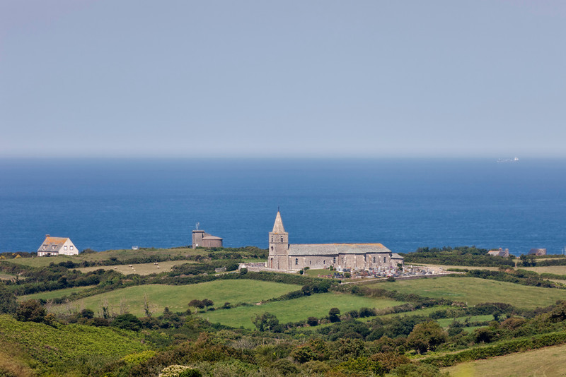 Landscape with church in the Normandy - La Hague, Basse Normandy, France, Europe