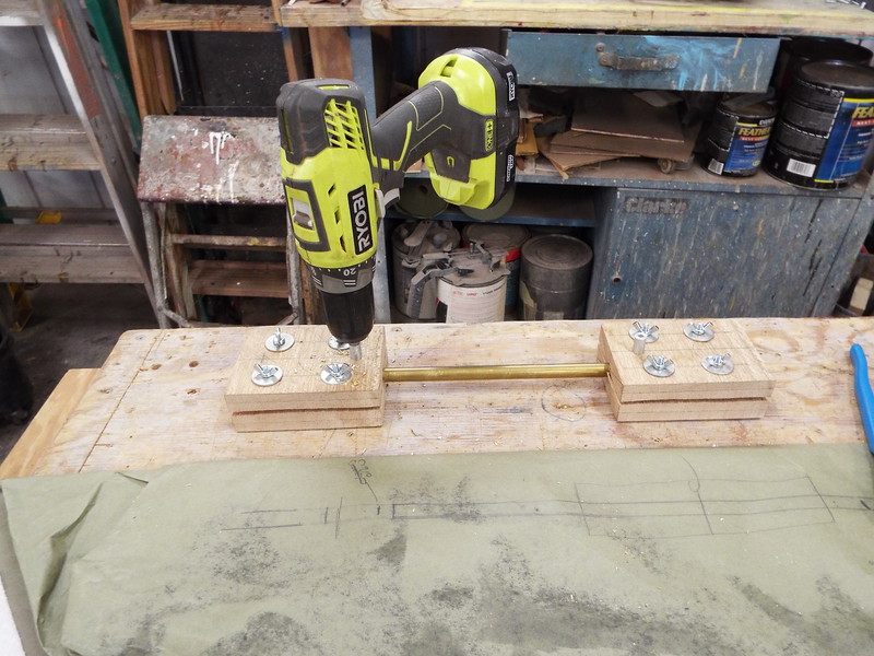 Drill jigs being used.