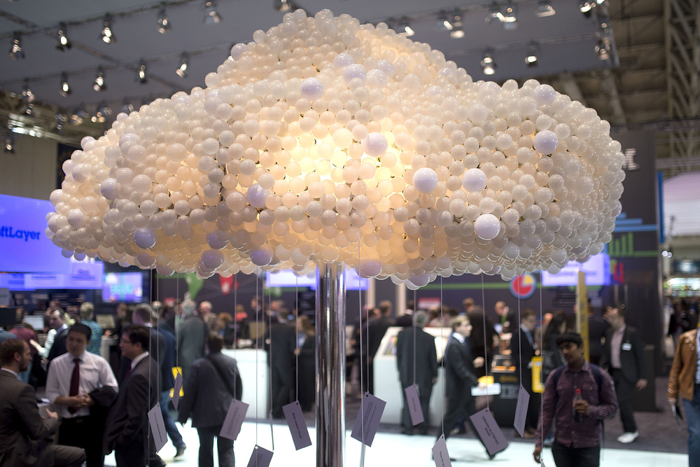 . A symbolic data cloud is seen at the IBM stand at the 2014 CeBIT technology Trade fair on March 10, 2014 in Hanover, Germany. CeBIT is the world\'s largest technology fair and this year\'s partner nation is Great Britain.  (Photo by Nigel Treblin/Getty Images)