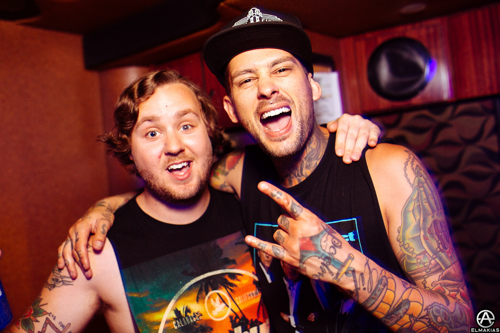 Ryan Burt of The Amity Affliction and Mike Fuentes of Pierce the Veil at Warped Tour 2015 by Adam Elmakias