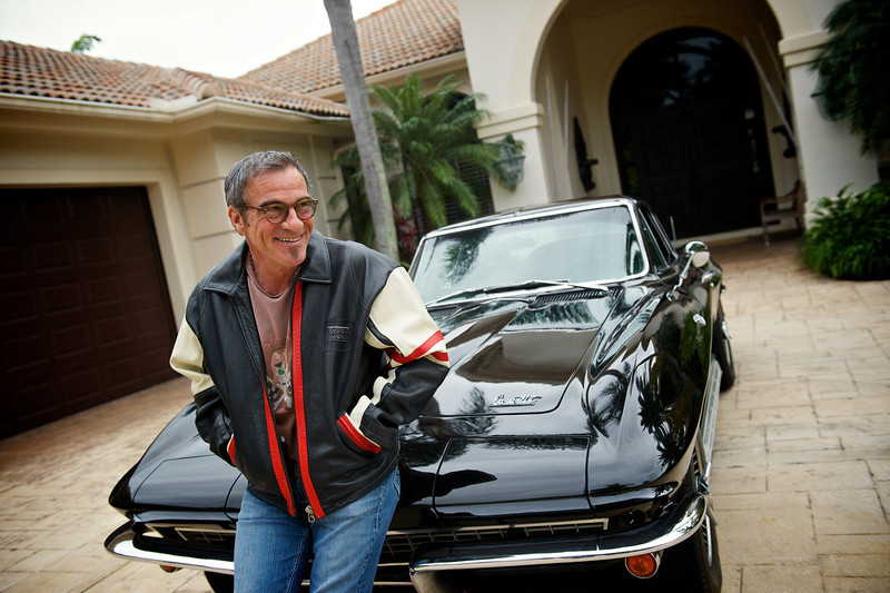 . January 7, 2014 - Bon Jovi drummer Tico Torres relaxes on his Corvette Stingray in front of his home in Jupiter, Florida on January 7, 2014.  (Photo credit: David Bergman / Bon Jovi)