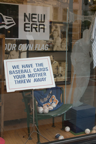 Sign in the window of Mickey's Place, Main St, Cooperstown -- A trip to the Baseball Hall of Fame, Cooperstown, NY, June 2014
