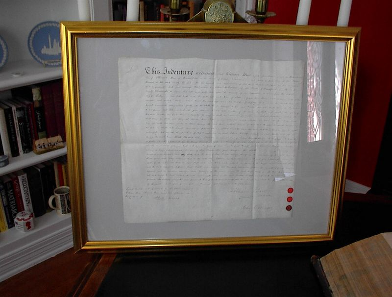 """Early 19th century indentured servitude contract which states that """"William Mew, aged 14 years..being a poor boy of the parish of..."""" It goes on to state that """"he shall not commit fornication nor play at cards, dice tables, or any other unlawful games, he shall not haunt taverns or playhouses nor absent himself from his said Master's service day or night..."""". Sounds even worse than working for Wal Mart."""