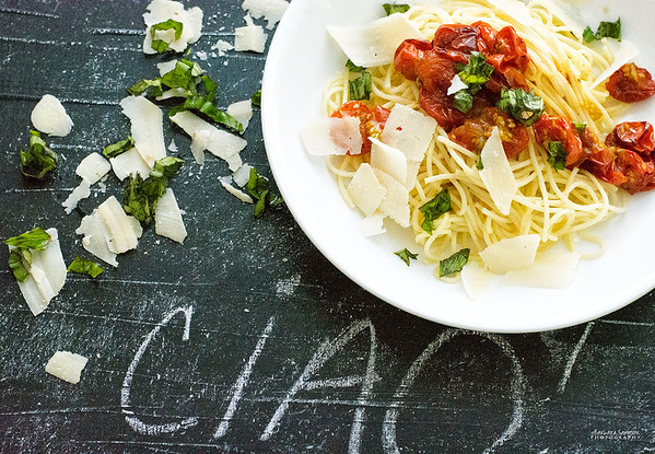Spaghetti with Roasted Cherry Tomatoes, Fresh Basil and Shaved Parmesan Cheese
