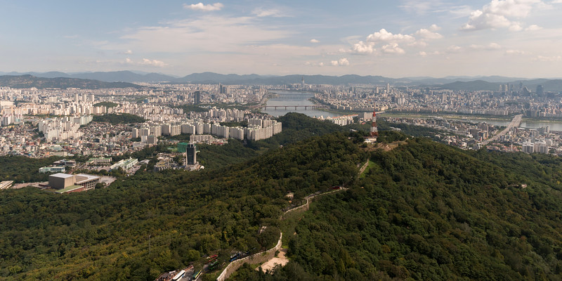 Aerial view of city and Han River seen from Namsan Park, Namsan Mountain, Seoul, South Korea