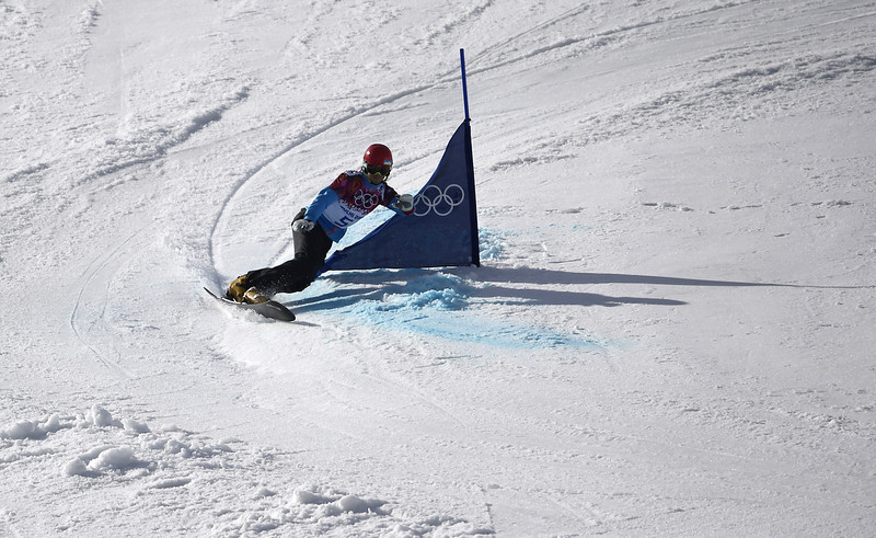 . Bronze Medallist, Slovenia\'s Zan Kosir competes in the Men\'s Snowboard Parallel Giant Slalom Final at the Rosa Khutor Extreme Park during the Sochi Winter Olympics on February 19, 2014.  FRANCK FIFE/AFP/Getty Images