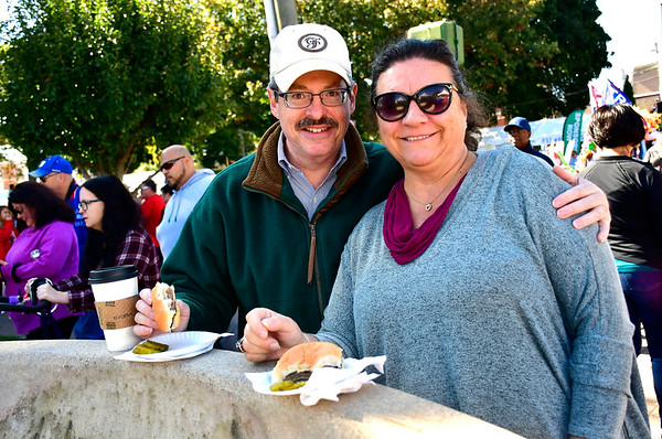 10/5/2019 Mike Orazzi | StaffrBob Sweig and Lisa Phelan while at the 51st Annual Apple Harvest Festival in Southington on Saturday.