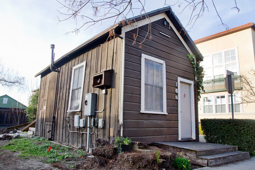 . The Immigrant House, pictured here on Monday, Feb. 4, 2013. The historic building located at 166 Bryant St. will be moved and stored at the city�s Municipal Operations Center while preservationists work to raise the estimated $227,000 needed to rehabilitate the structure built in the 1800s. The Mountain View City Council voted unanimously last week to save the Immigrant House but not its companion, the Pearson House.(Kirstina Sangsahachart/ Daily News)