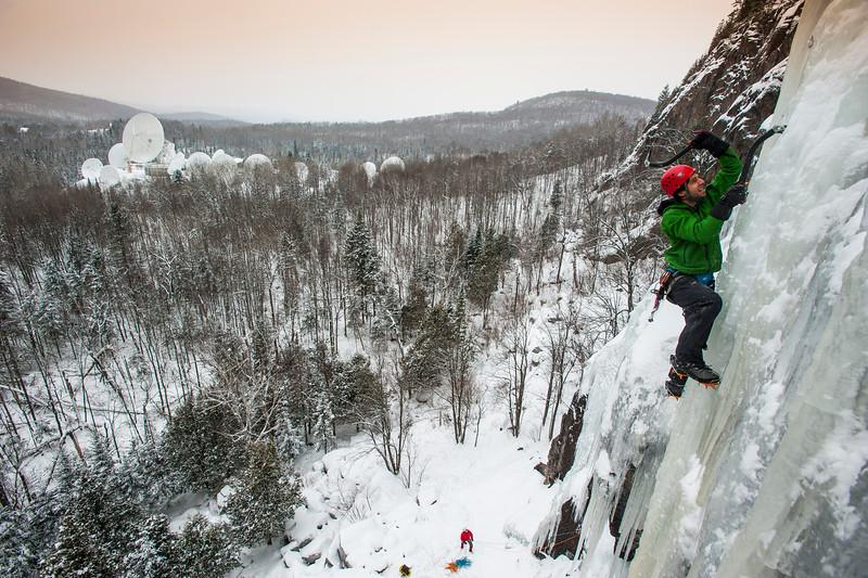 Matt Madalonie ice climbing at Weir, Quebec, Laurentian mountains, Canada.